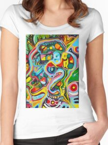 ABSTRACT STYLE ORIGINAL ART Women's Fitted Scoop T-Shirt