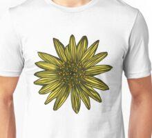 Khaki Daisy Flower Pattern Yellow Daisies on Olive Green Unisex T-Shirt