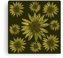 Khaki Daisy Flower Pattern Yellow Daisies on Olive Green Canvas Print