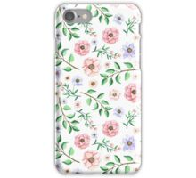 Watercolor Light Blue and Pink Flowers iPhone Case/Skin