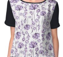 Seamless Pattern with Watercolor Flowers and Abstract Lilac Shapes Chiffon Top