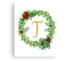 Christmas Monogram T Canvas Print