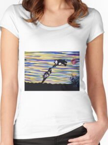 against the wind ORIGINAL ART by JOSE JUAREZ Women's Fitted Scoop T-Shirt