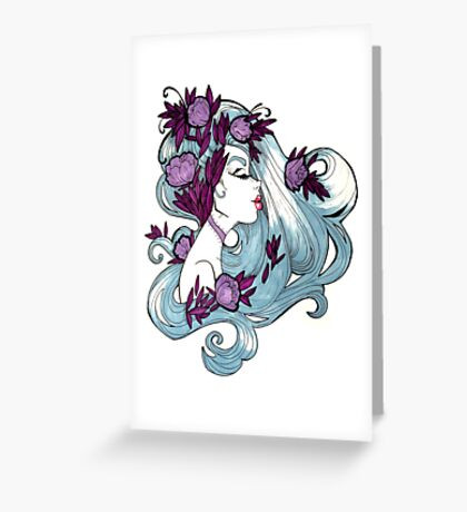 Faded Blue Spring Girl Illustration Greeting Card