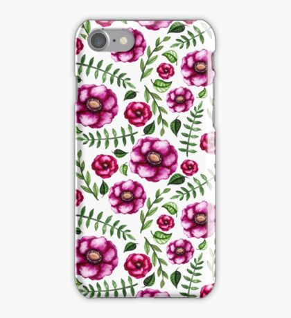 Watercolor Deep Pink Flowers and Little Green Leaves iPhone Case/Skin
