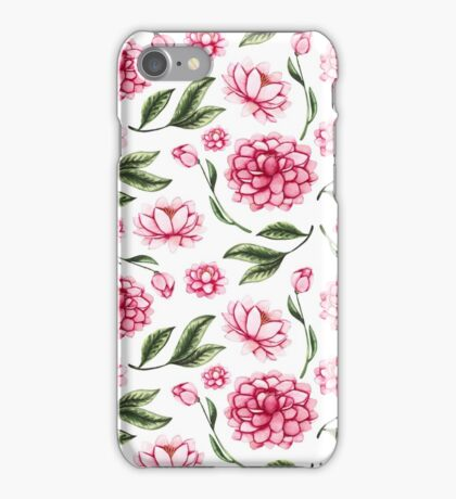 Watercolor Bright Pink Flowers, Lotus and Green Leaves iPhone Case/Skin