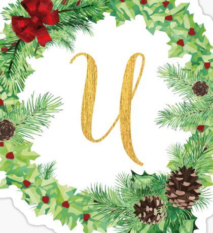 Christmas Monogram U Sticker