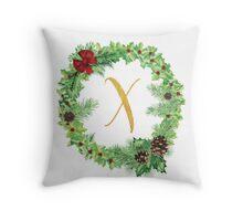 Christmas Monogram X Throw Pillow