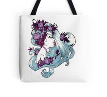 Faded Blue Spring Girl Illustration Tote Bag