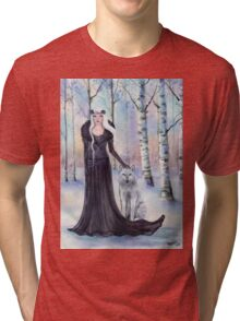 """""""Eindride"""" fantasy woman with wolf by Renee L Lavoie Tri-blend T-Shirt"""