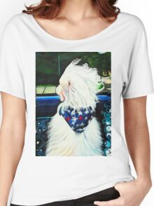 Out the Window Dog Painting Women's Relaxed Fit T-Shirt