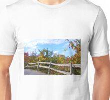 WEATHERED SPLIT RAIL FENCE & FALL COLORS Unisex T-Shirt