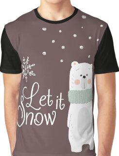 Let It Snow Bear Grey Graphic T-Shirt