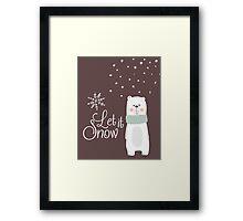 Let It Snow Bear Grey Framed Print
