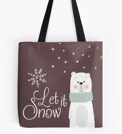 Let It Snow Bear Grey Tote Bag