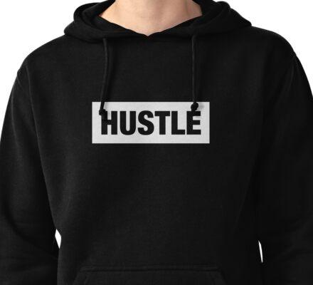 Hustle White Box Pullover Hoodie