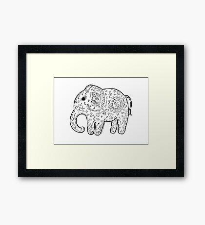 Cute elephant zentangle black and white Framed Print