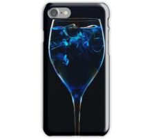 Amazing blue cocktail with ice cubes close up on dark background iPhone Case/Skin