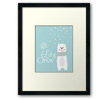 Let It Snow Bear Blue Framed Print