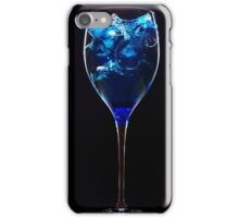 Amazing blue cocktail with ice cubes on dark background iPhone Case/Skin