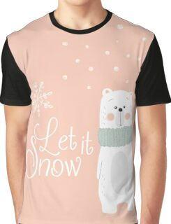Let It Snow Bear Pink Graphic T-Shirt