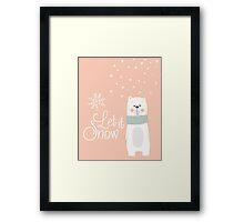 Let It Snow Bear Pink Framed Print