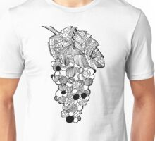 Grapes zentangle black and white art draw Unisex T-Shirt