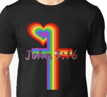 Rainbow Cross with John 3:16 Unisex T-Shirt