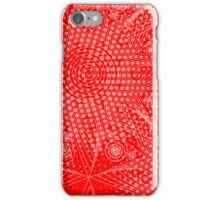 Abstract snowflakes on red background iPhone Case/Skin