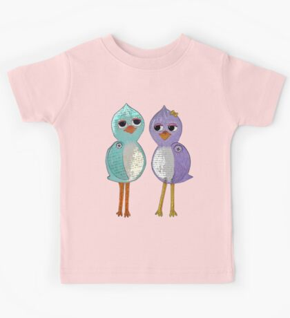 Love Birds Paper Dolls Kids Tee
