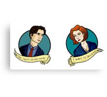X-Files, Mulder + Scully Canvas Print
