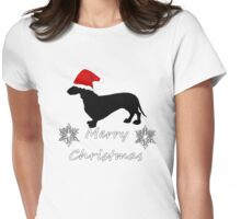 Christmas Dachshund Womens Fitted T-Shirt