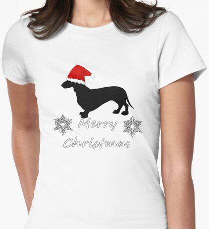 Christmas Dachshund Womens Fitted T-Shirt