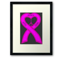 Peace Love Cure Breast Cancer Pink Ribbon Framed Print