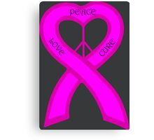 Peace Love Cure Breast Cancer Pink Ribbon Canvas Print