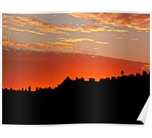 Sunset Over The Rooftops at Hove Poster