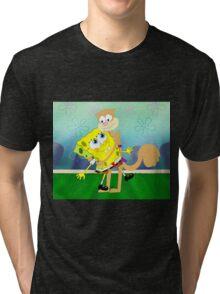 SpongeBob and Sandy hugging Tri-blend T-Shirt