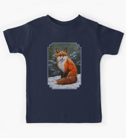 Red Fox in Snow Kids Tee