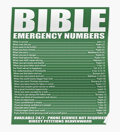 Bible - Emergency contact numbers Poster