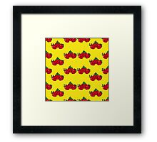Strawberry yellow background Framed Print