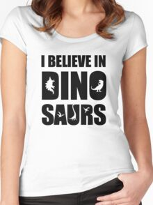 I Believe In Dinosaurs (little dinosaurs) Women's Fitted Scoop T-Shirt
