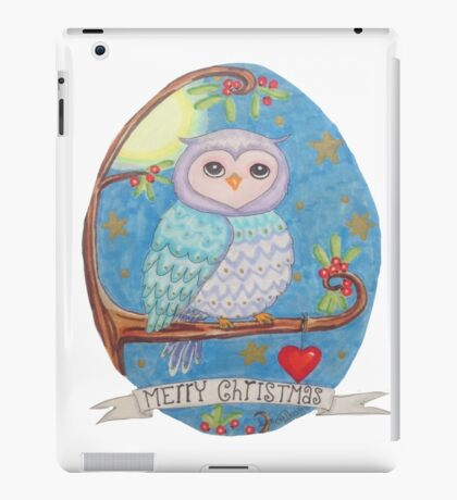 Colorful cute Little christmas forest owl iPad Case/Skin