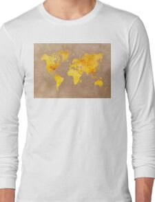 World map gold Long Sleeve T-Shirt