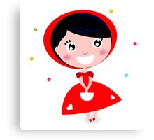 New in shop! Kids red edition with hand-drawn cute Girl Canvas Print