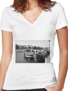 Amstel River Amsterdam  Women's Fitted V-Neck T-Shirt