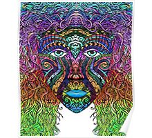 Colorful Hand Drawn Art Zen Doodle Female Face Tribal Poster