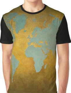 World map gold green Graphic T-Shirt