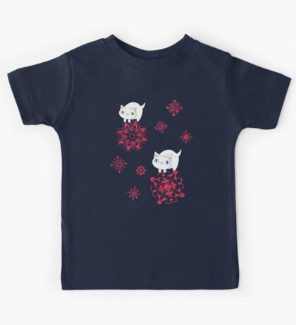 Kittens and Red Sparkly Snowflakes Kids Tee