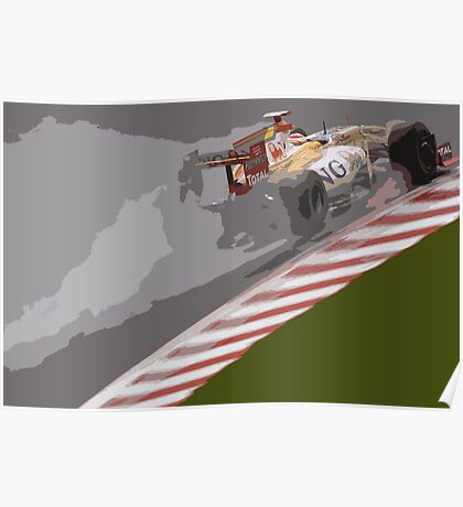 Wet weather Alonso Poster