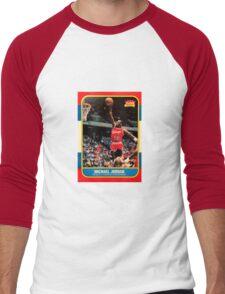 Michael Jordan Chicago Bulls NBA Basketball Rookie Card Men's Baseball ¾ T-Shirt